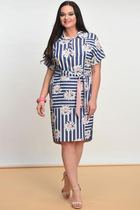 Купить Платье Lady Style Classic 1321 синий с белым, Платья, 1321, синий с белым, Вискоза 72%+ПЭ 25%+ПУ 3%, Лето