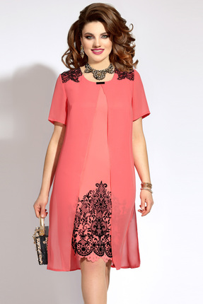 Купить Платье Vittoria Queen 5653/3 коралл, Платья, 5653/3, коралл, Вискоза 40%+ПЭ 55%+Спандекс 5%, Лето