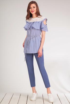 Купить Комплект брючный Golden Valley 6297 голубой, Брючные, 6297, голубой, Тип ткани: текстильный, костюмно – плательный Блузка - хлопок 100% Брюки - хлопок 52%, полиэстер 45%, спандекс 3%, Лето
