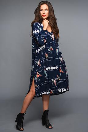 Купить Платье Teffi style 1337 синий, Платья, 1337, синий, Ткань – шифон -стрейч. 95% ПЭ 5% сп., Мультисезон
