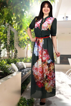 Купить Платье Миа Мода 703-18 зеленые тона, Платья, 703-18, зеленые тона, ПЭ 100%, Лето