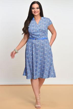 Купить Платье Lady Style Classic 1101 голубые цветы, Платья, 1101, голубые цветы, Вискоза 72%+ПЭ 25%+ПУ 3%, Лето