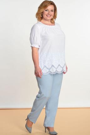 Купить Комплект брючный Lady Style Classic 1388 белый с голубым, Брючные, 1388, белый с голубым, Блуза: Хлопок 100% Брюки: ПЭ 73%+Вискоза 25%+ПУ 2%, Лето