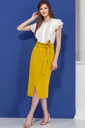 Купить Комплект юбочный Ivelta plus 2442 белый с желтым, Юбочные, 2442, белый с желтым, Юбка - 71% п/э, 23% вискоза, 6% спандекс Блуза - 100% п/э, Лето