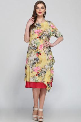 Купить Платье Matini 1912 желтые тона, Платья, 1912, желтые тона, Вверх - 100% пэ, низ - 100% вискоза, Лето