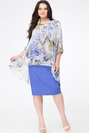 Купить Платье Erika Style 622 голубой-василек, Платья, 622, голубой-василек, вискоза 72%, ПЭ 25%, спандекс 3%, Лето