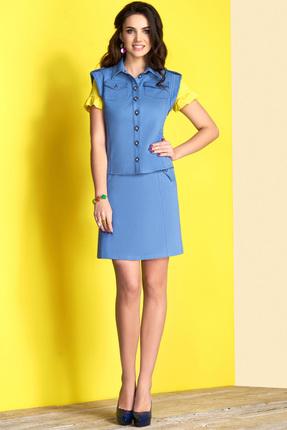 Комплект юбочный Lissana 3410 голубой, Юбочные, 3410, голубой, Жилет и юбка: Хлопок 71%+ПЭ 26%+Эластан 3% Блузка: Вискоза 95%+Лайкра 5%, Лето  - купить со скидкой