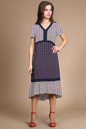 Купить Платье Alani 745 синий с белым, Платья, 745, синий с белым, Хлопок 98%+Эластан 2% + Шифон ПЭ 100%, Лето