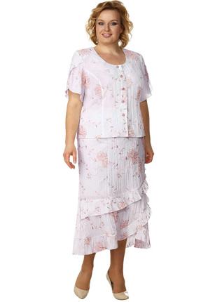 Комплект юбочный Линия-Л А-763 белый с персиковыми цветами