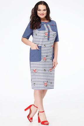 Купить Платье Erika Style 618-1 синие тона, Платья, 618-1, синие тона, вискоза 72%, ПЭ 25%, спандекс 3%, Лето