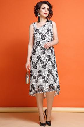 Купить Платье JeRusi 1856 черно-белый, Платья, 1856, черно-белый, Креп, Кружево : ПЭ 100%, Лето