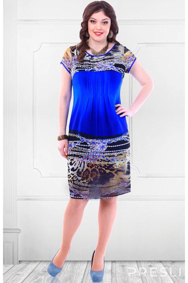 Платье Camelia 1403 синий с цветным
