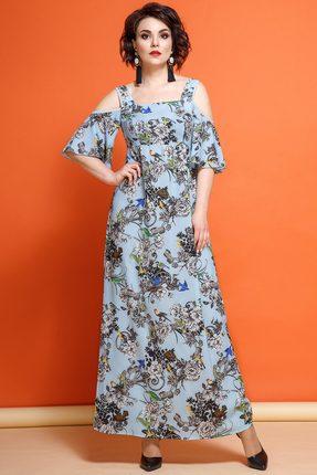 Купить Платье JeRusi 1861/1 голубые тона с цветами, Платья, 1861/1, голубые тона с цветами, ПЭ 100%, Лето