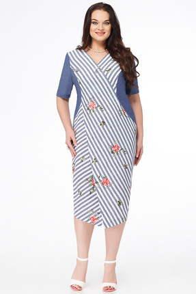 Купить Платье Erika Style 630-1 синие тона, Платья, 630-1, синие тона, вискоза 72%, ПЭ 25%, спандекс 3%, Лето