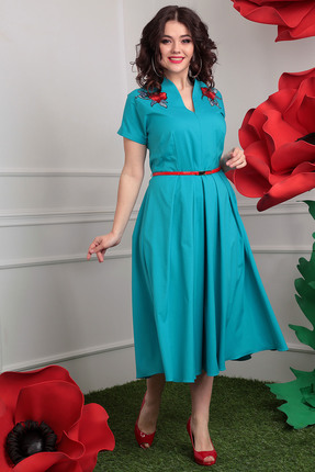 Купить Платье Мода-Юрс 2402 бирюза, Платья, 2402, бирюза, полиэстер 100%, Мультисезон