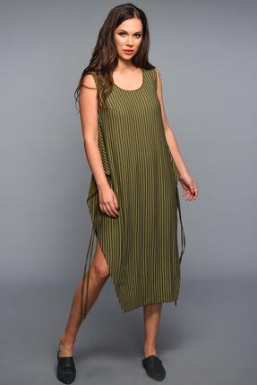 Купить Платье Teffi style 1335 хаки, Платья, 1335, хаки, костюмно-плательная 54% вискоза, 46% полиамид., Мультисезон