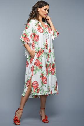 Купить Платье Teffi style 1338 гранат, Платья, 1338, гранат, шифон-стрейч диджитал ( 95% ПЭ, 5% спандекс), Мультисезон