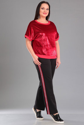 Купить Комплект брючный Ива 1022 красный с черным, Брючные, 1022, красный с черным, джемпер: декоративная ткань с блеском 100% п/э брюки: 50% вискоза, 50% хлопок, Лето