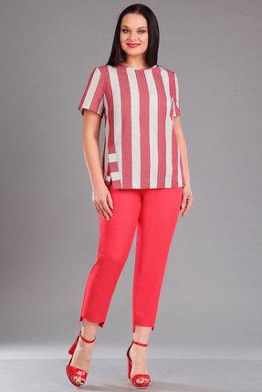 Купить Комплект брючный Ива 1014 красный, Брючные, 1014, красный, блузон: 100% лен брюки: летний джинс 97% хлопок, 3% эластан, Лето