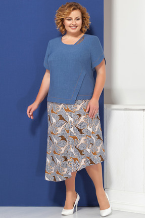Купить Комплект юбочный Ivelta plus 2447 синий с цветным, Юбочные, 2447, синий с цветным, Блузка - п/э 100%, Юбка - п/э 95%, спандекс 5%, Лето