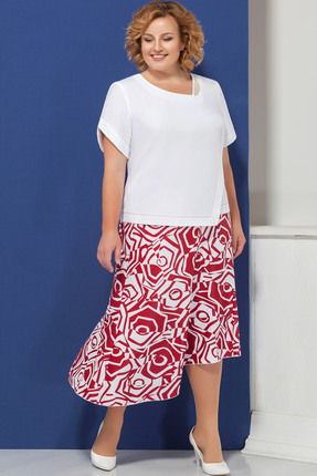 Комплект юбочный Ivelta plus 2447 бело-красные тона