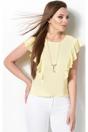 Купить Блузка DiLiaFashion 0119-3 желтый, Блузки, 0119-3, желтый, ПЭ 65%, Вискоза 30%, ПУ 5%, Лето