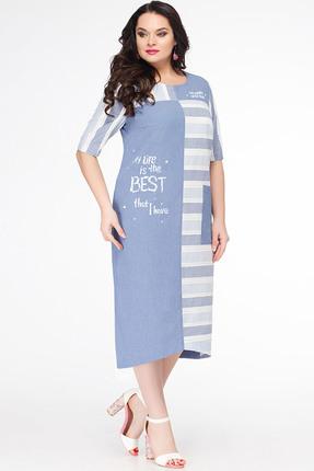 Купить Платье Erika Style 634 голубой, Платья, 634, голубой, вискоза 72%, ПЭ 25%, спандекс 3%, Лето