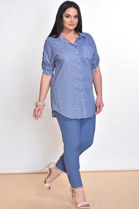 Купить Комплект брючный Lady Style Classic 1577 синий, Брючные, 1577, синий, Блуза: Хлопок 100% Брюки: ПЭ 73%+Вискоза 25%+ПУ 2%, Лето