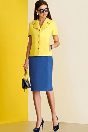Купить Комплект юбочный Lissana 3428 лимон с синим, Юбочные, 3428, лимон с синим, Жакет: Трикотаж Юбка: ПЭ 76%+Вискоза 20%+Спандекс 4%, Лето