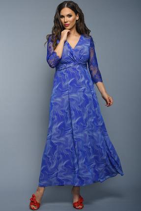 Купить Платье Teffi style 1348 синие тона, Платья, 1348, синие тона, Ткань - шифон стрейч 95% ПЭ 5% сп., Мультисезон