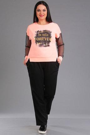 Купить Комплект брючный Ива 1018 розовый с черным, Брючные, 1018, розовый с черным, блузон: основная ткань 70% п/э, 25% вискоза, 5% спандекс рукава сетка 100% п/э брюки: 50% вискоза, 50% хлопок, Мультисезон