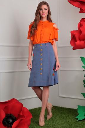 Купить Комплект юбочный Мода-Юрс 2408 оранжевый с синим, Юбочные, 2408, оранжевый с синим, Блузон: вискоза 81%, ПЭ 19%, юбка ПЭ 73% хлопок 27% (лен вишер ), Мультисезон