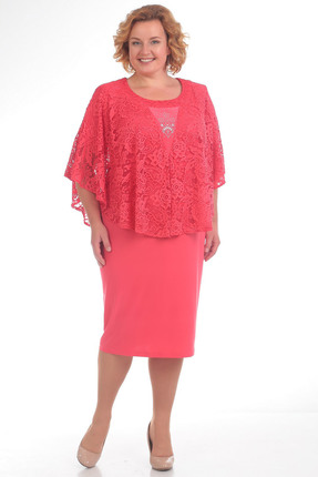 Купить Платье Pretty 731 коралл, Платья, 731, коралл, 100% полиэстр, Мультисезон