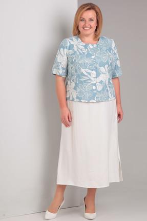 Купить Комплект плательный Диамант 1297 голубой, Плательные, 1297, голубой, Жакет 75% хлопок, 23% пэ, 2% лайкра, платье 50% вискоза, 50% хлопок, Мультисезон