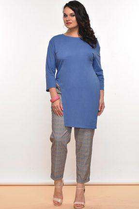 Купить Комплект брючный Lady Style Classic 1516 синий с серым, Брючные, 1516, синий с серым, Джемпер: Вискоза 54%+ПА 46% Брюки: ПЭ 65%+Вискоза 32+ПУ 3%, Мультисезон