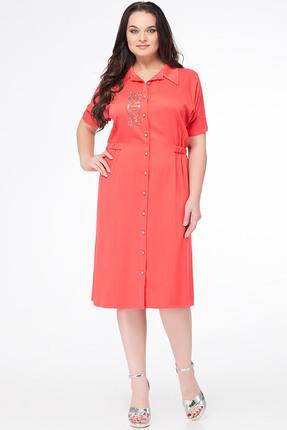 Купить Платье Erika Style 642-1 коралл, Платья, 642-1, коралл, вискоза 72%, ПЭ 25%, спандекс 3%, Лето