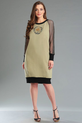 Купить Платье Ива 1020 хаки, Платья, 1020, хаки, основная ткань: трикотаж 50% вискоза, 50% хлопок сетка 100% п/э, Лето