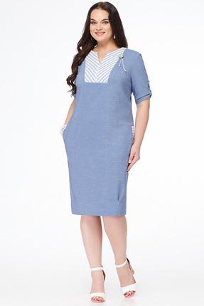 Платье Erika Style 649 голубой, Платья, 649, голубой, хлопок 100%, Лето  - купить со скидкой
