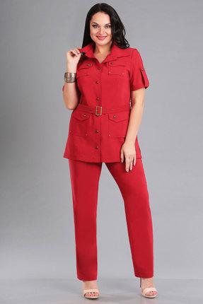 Купить Комплект брючный Ива 1024 красный, Брючные, 1024, красный, костюмная 70% п/э, 25% вискоза, 5% спандекс, Лето