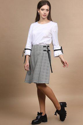Купить Комплект юбочный Alani 665 белый с серым, Юбочные, 665, белый с серым, Блуза: Хлопок 98%+Эластан 2% Юбка: ПЭ 65%+Вискоза 32%+Эластан 3%, Мультисезон