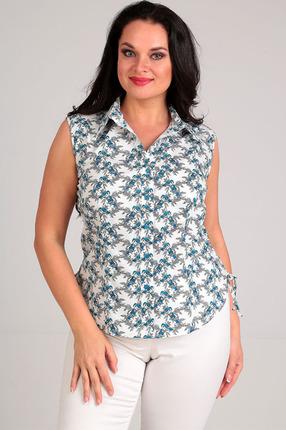 Купить Блузка Таир-Гранд 6240 синий птички, Блузки, 6240, синий птички, Состав: хлопок 100%, Мультисезон