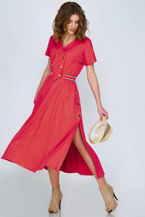 Купить Платье Denissa Fashion 1133 коралл, Платья, 1133, коралл, 62% ПЭ, 35% вискоза, 3% спандекс, Лето