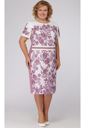 Купить Платье Aira Style 628 бело-розовые тона, Платья, 628, бело-розовые тона, плательная ткань, кружево (пэ 100%), Лето