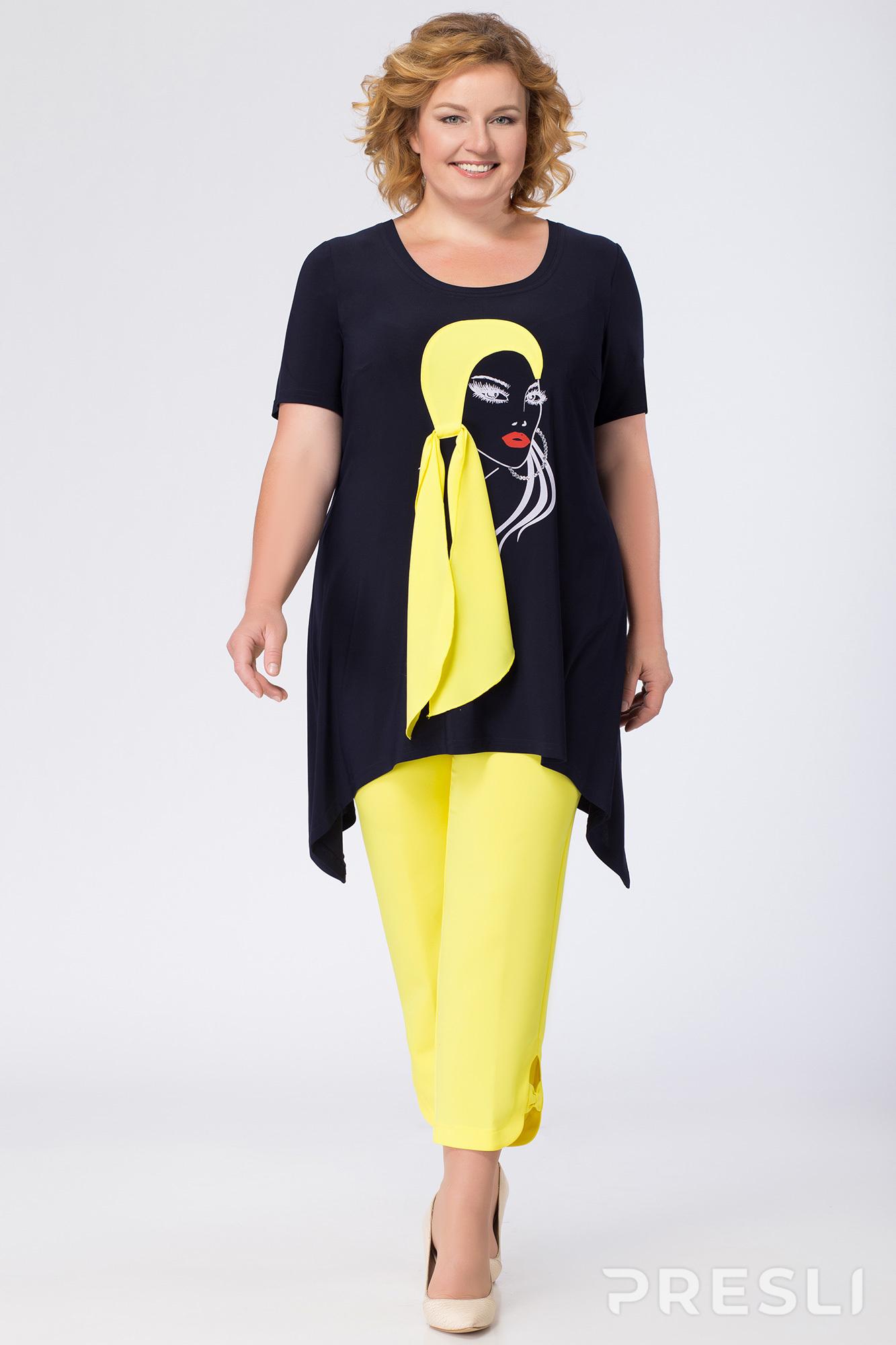 77abb0ff6be1 Комплект с капри Andrea Style 1111 синий с желтым - Женская одежда
