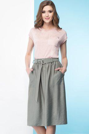 Купить Юбка Линия-Л Ю-19 хаки, Юбки, Ю-19, хаки, Ткань текстильная (юбка) - Вискоза 85%+Полиамид 15%, Лето