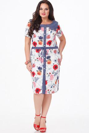 Купить Платье Erika Style 667 белый в цветы, Платья, 667, белый в цветы, хлопок 100%, Лето