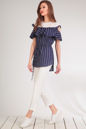 Купить Комплект брючный Golden Valley 6297 белый с синим, Брючные, 6297, белый с синим, Тип ткани: текстильный, костюмно – плательный Блузка - хлопок 100% Брюки - хлопок 52%, полиэстер 45%, спандекс 3%, Лето