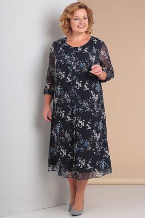 Купить Платье Новелла Шарм 3045 темно-синие тона, Повседневные платья, 3045, темно-синие тона, шифон (пэ 100%%), трикотажная подкладка, Лето