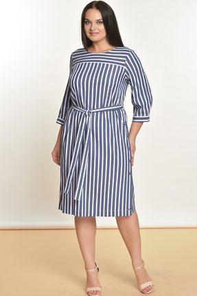 Купить Платье Lady Style Classic 1325 синий с белым, Платья, 1325, синий с белым, Вискоза 72%+ПЭ 25%+ПУ 3%, Лето