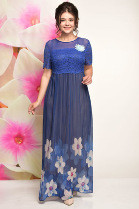 Купить Платье Solomeya Lux 495 синий, Платья, 495, синий, полиэстер-100% Ткань: гипюр+ шифон, Мультисезон